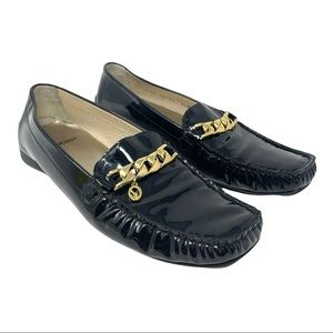 St John Pinch Pleat Patent Leather Driving Loafers w/ Gold Chain 8.5